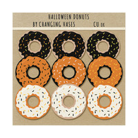 Digital Clip Art, Halloween Donut Clipart, Halloween Clip Art, Bakery Shop, Set PNG Graphics, Orange Black Yellow Brown White