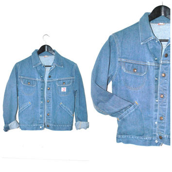 GWG retro denim jacket vintage 1970s 70s SCRUBBIES small retro JEAN jacket