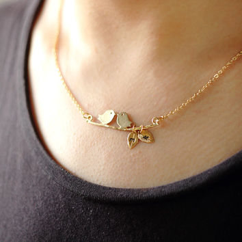 Gold Bird Necklace, Tiny Gold Leaves initials Necklace, 2 initial necklace