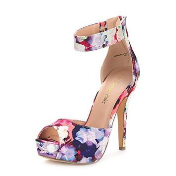 High Heel Platform Pump Shoes New Women's Ankle Strap Back Zipper Peep Toe