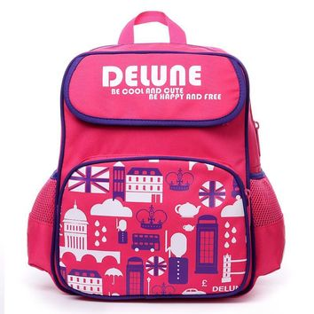 DELUNE Kids Baby Students Cartoon Owl Character Book School Bags Backpacks for Children Satchel Shoulder Bags for Boys and Girls
