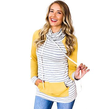 Women Autumn Hoodie Shirts Striped Drawstring Pocket Women Sweatshirt Elbow Patch Long Sleeve Casual Pullover Tops Pink/Yelllow