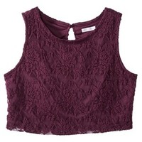 Xhilaration® Juniors Lace Cropped Tank - Wine