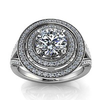 Double Halo Split Shank Engagement Ring  - Pandora