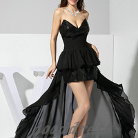 Custom Handmade Cheap Sexy Sweetheart Black Sequin Lace High Low Formal Short Evening/Prom/Party/Bridesmaid/Homecoming/Cocktail Dress Gown