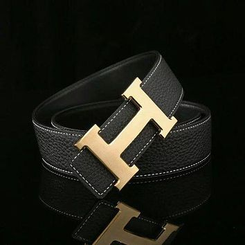 HERMES Woman Fashion Smooth Buckle Belt Leather Belt H-A-GFPDPF