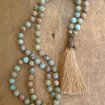 Beaded tassel necklace boho jewelry - Journey - long necklace, statement necklace, aqua khaki sand, rhinestones summer beach jewelry