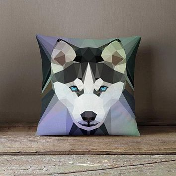Geometric Dog Husky Pillowcase | Decorative Throw Pillow Cover | Cushion Case | Designer Pillow Case | Birthday Gift Idea For Him & Her