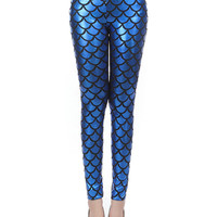 Navy Blue Mermaid Fish Scale High Waist Leather Leggings