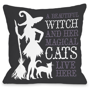 """Beautiful Witch"" Indoor Throw Pillow by OneBellaCasa, 16""x16"""