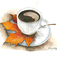 Coffee in the Fall, Watercolor Print for seasonal home decor, Fall wall art, thanksgiving decor, coffee shop artwork