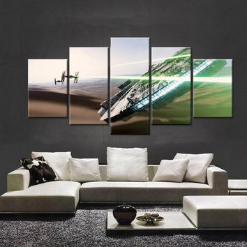 Modern home decoration 5 pieces of canvas printing oil painting movie poster Star Wars science fiction modular paintings on the
