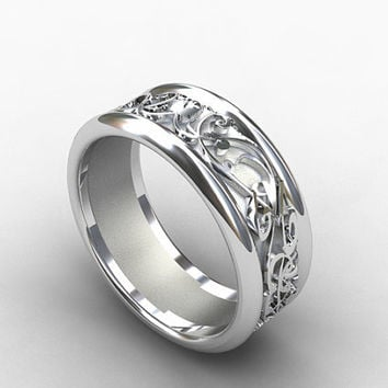 white gold wedding band, wide ring, filigree, mens ring, men gold wedding, unique, men modern ring, commitment, wide ring