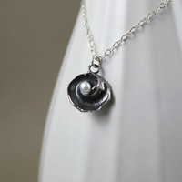 Dark Silver Shell and White Freshwater Pearl Pendant Necklace