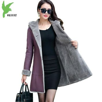 Boutique Women winter leather jacket Fur Together coats Medium length Hooded trench Plus size Thicker Leather jackets OKXGNZ1200