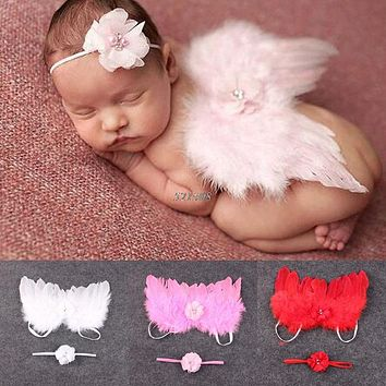 2017 Stylish Newborn Baby Kids Feather Lace Headband & Angel Wings Flowers Photo Prop MAR2_30