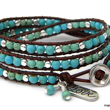 Magnesite Beaded Leather Wrap Bracelet Triple Love Wrap Ladder Bracelet