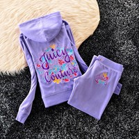 Juicy Couture Studded Colorful Flowers Velour Tracksuit 6023 2pcs Women Suits Purple