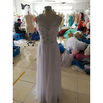 2017 Summer Beach Wedding Dresses Cristal Beaded A-line V Neck Chiffon Bohemian Bridal Gown Boho Bride Dress real picture