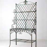 antique bakery rack with fleur de lis, copper verdigris