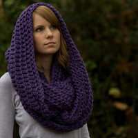 Infinity Scarf, Purple Fushcia Crochet Oversized Scarf, Hooded Scarf, Chunky Cowl, Wool