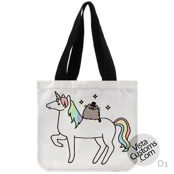 Pusheen Cat With Unicorn New Hot, handmade bag, canvas bag, tote bag