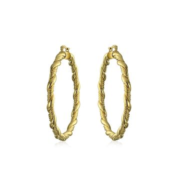 Twisted Cable Rope Braid Light Weight Hoop Earrings 18k Gold Plated