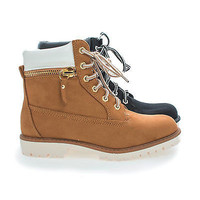 Mojo Round Toe Lace Up Zipper Padded Ankle Collar Women's Boots