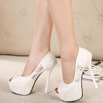 Women Pumps Fashion Lace Peep Toe High Heels Ladies Wedding Shoes Platform White Party