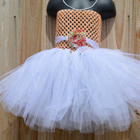 3PC Peach Flower Girl Tutu Set/ Wedding/ Picture outfit/ Show Dress/ Pageant Dress
