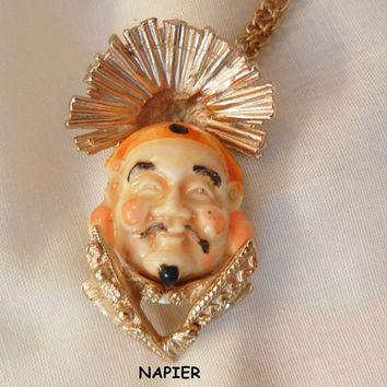Wonderful Napier elaborate carved smiling emperor Necklace Chain 1 20 12K