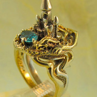 14K Gold Dragon and Silver Castle Ring set with Blue Zircon - Dragon Jewelry - Castle Jewelry - Puzzle Ring