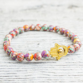 Colorful beaded stretchy gold Hamsa hand bracelet, custom made yoga bracelet, mens bracelet, womens bracelet