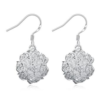 18K White Gold Plated Blossoming Ball Drop Earring