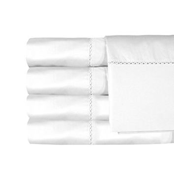 MADE IN THE USA Bella 1200TC 100% Cotton Sateen Sheet Set, Queen, White By Veratex