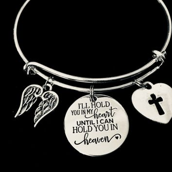 I Will Hold You in My Heart Until I can Hold You in Heaven Expandable Charm Bracelet Adjustable Silver Bangle One Size Fits All Gift Angel Wings Memorial Jewelry Bereavement Gift