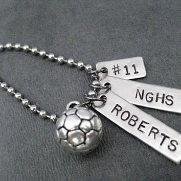 SPORT Personalized Key Chain / Bag Tag with Jersey Number - Sport Charm - 4 inch Ball Chain or Round Key Ring - Sport, Name, School, Number
