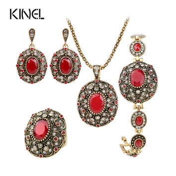 Fashion Vintage Jewelry Set For Women Dubai Gold Plating Oval Turquoise Wedding Jewelry Sets Engagement Party Gift of love