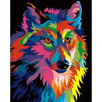 Frameless Colorful Wolf Diy Painting By Numbers Home Decor Modern Wall Art Picture Handpainted For Living Room Artwork 40*50cm
