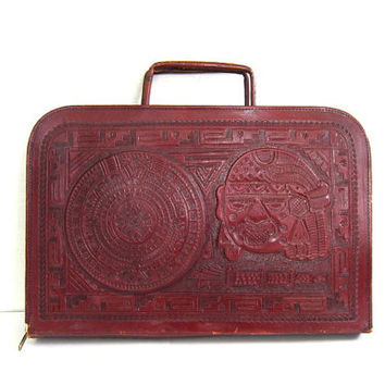 Vintage 60s Brown Zippered Tooled Leather Portfolio Briefcase w/ Aztec / laptop case