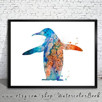 Penguin 2 Watercolor Print,  Penguin art, Archival Fine Art Print, Home Decor, animal watercolor, Penguin painting, bird art