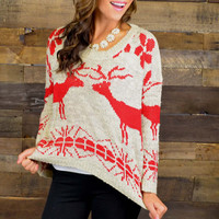 Season's Greetings Red Oversized Reindeer Sweater
