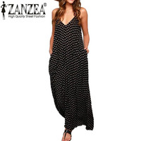 New Fashion 2016 Summer Women Strapless Polka Dot Casual Loose Long Maxi Dress Sexy Leisure Cotton Beachwear Vestidos Plus Size