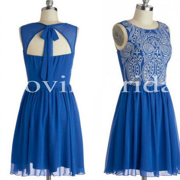 Short Royal Blue Prom Dresses Beauitufl Appliques Party Dresses Sexy Halter Party Dress Homecoming Dresses