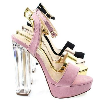Snyder1 By Liliana, Perspex Block High Heel Platform Sandal w Adjustable Ankle Strap
