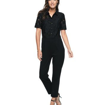 Pitch Black Guipure Lace Ponte Pant Romper by Juicy Couture,