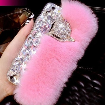 100% Handmade Genuine Rabbit Fur + Bling Crystal Fox Rhinestone Case for iPhone 7 5s 6 6s Plus Samsung Galaxy S6 + Gift Box