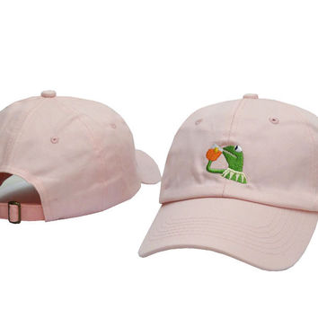 Kermit The Frog Drinking Iced Tea Meme Pink Strapback Baseball Cap Fitted Trucker Hat
