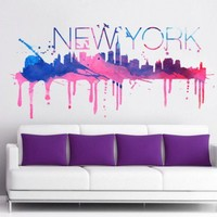 New York skyline watercolor sticker