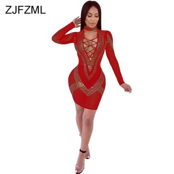 ZJFZML Mesh See Through Sexy Party Dress Women Geometric Rhinestones Full Sleeve Sheath Dress Autumn Lace Up Hollow Mini Dresses